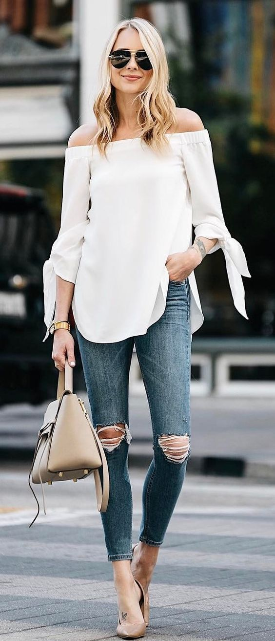 casual style perfection top + rips + bag1 #omgoutfitideas #outfits #casual