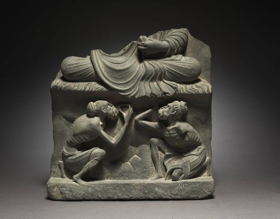 Base for a Seated Buddha with Figures of Ascetics, 2nd half of the 2nd Century Pakistan, Gandhara, Kushan Period (1st century-320)