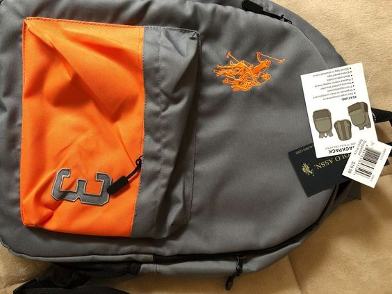 1 New Backpack U S Polo Assn Laptop Pocket Two Strap Orange Grey Camo Grey Fashion Clothing Shoes Accessories Mensaccesso Bags Laptop Pocket Backpacks