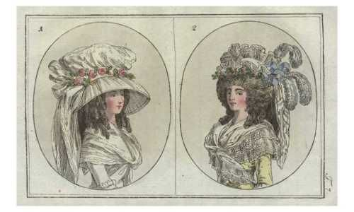 Headdresses, Journal des Luxus, 1789.
