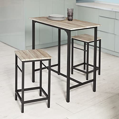 New Haotian Ogt10 N 3 Piece Dining Set Dining Table 2 Stools Home Kitchen Breakfast Table Bar Table Set Bar Table 2 Bar Stools Kitchen Counter Bar Chairs O In 2020 Outdoor Bar Furniture Bar Table
