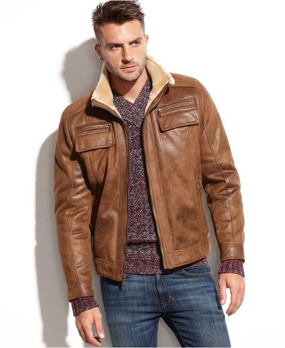 Calvin Klein Jacket Faux Shearling-Lined Faux Leather Jacket