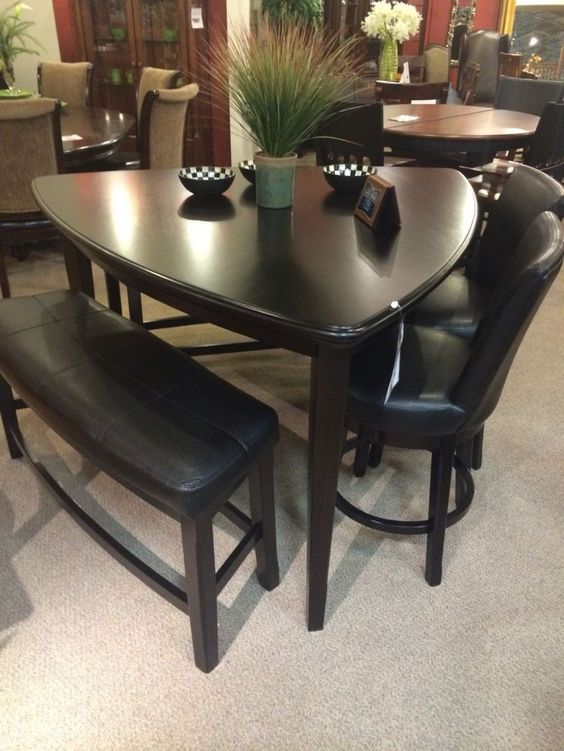 Ashleys Furniture Triangle Dining Room Table Black Triangle Dining ...