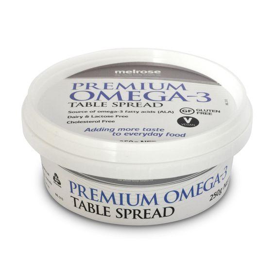 Vegan, Palm oil free spread. Melrose Health   Melrose Premium Omega 3 Table Spread 250g