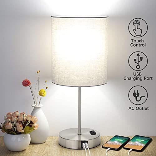 New Touch Control Table Lamp 3 Way Dimmable Bedside Desk Lamp 2 Fast Usb Charging Ports Ac Outlet Nightstand Lamp Bedroom Living Room Modern Office Lamp Sil In 2020 Bedside Desk