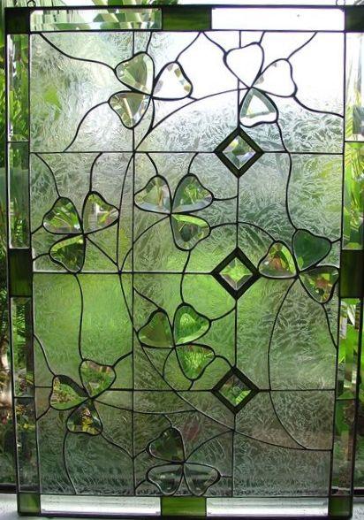 Shamrock stained glass window