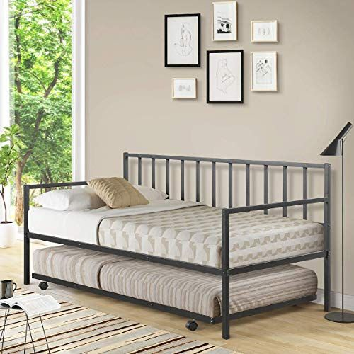 New Giantex Twin Size Daybed Trundle Frame Set Trundle Bed 4 Casters Premium Metal Slat Support Easy Assembly Mattress Platform Bed Sofa Living Room Guest In 2020 With Images Living