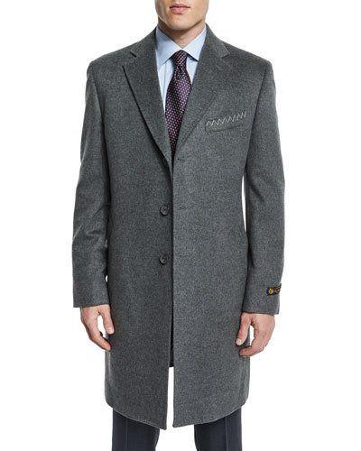 Cashmere Long Car Coat, Gray