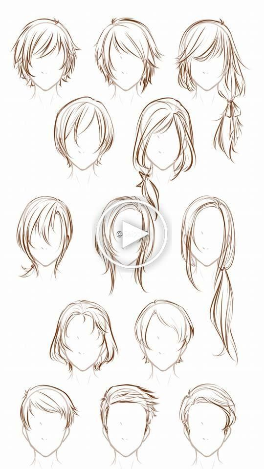 A Variety Of Hair Styles Hair Painting Methods Haircut Hair Style Types Kinds Of In 2020 How To Draw Hair Anime Drawings Tutorials Manga Hair