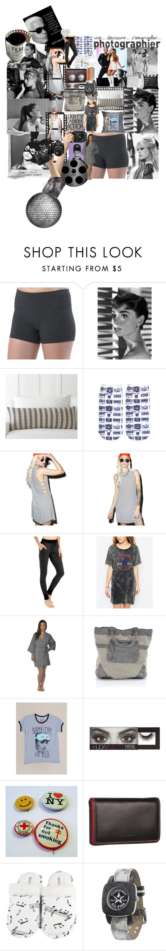 """Girlys got Moves"" by lerp ❤ liked on Polyvore featuring GE, prAna, Pottery Barn, Nikon, Free Press, Audrey 3+1, Love+Grace, Converse, Leisureland and Huda Beauty"
