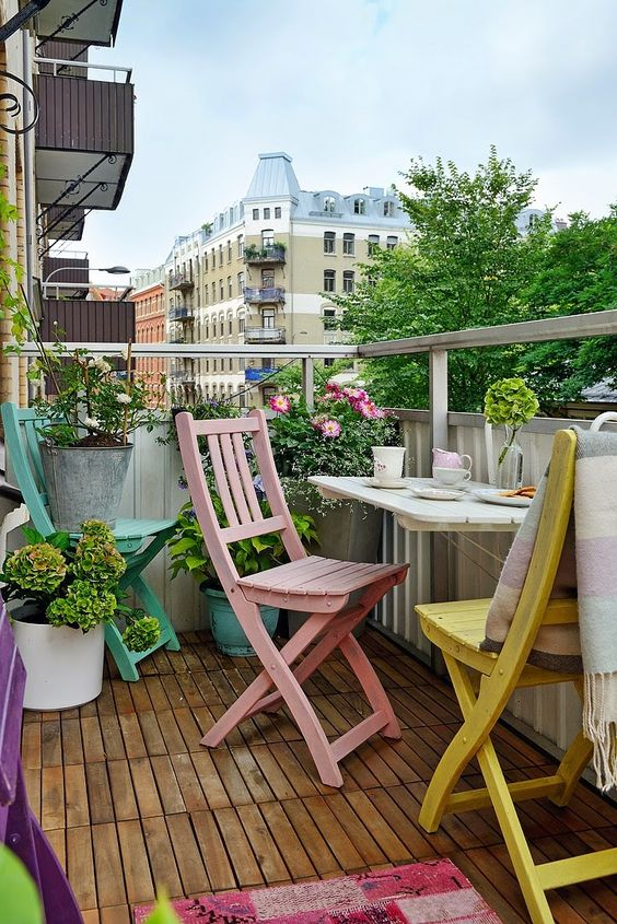 Balconies are great for outdoor decor projects. You can get a modern, retro, mid-century or even eclectic balcony mood. Use chairs, tables, floor lamps... Be creative and find more good home design ideas here: http://www.pinterest.com/homedsgnideas/: