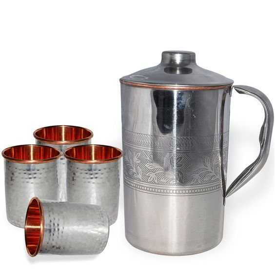 Amazon.com | DakshCraft ® Inside Pure Copper Jug With 4 Handmade Drinking Stainless Steel Inside Copper Glass: Mixed Drinkware Sets