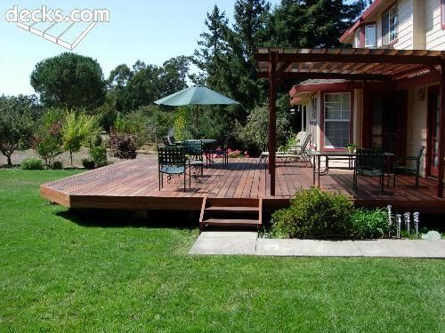 Low Profile Deck Would Add A Step Down All Around Or Larger Steps Down To The Yard Pergolaideas Decks Backyard Patio Design Deck With Pergola