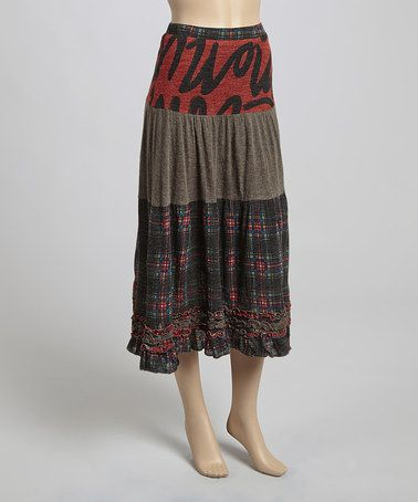 Look what I found on #zulily! Red & Gray Ruffle-Trim Patchwork Skirt #zulilyfinds