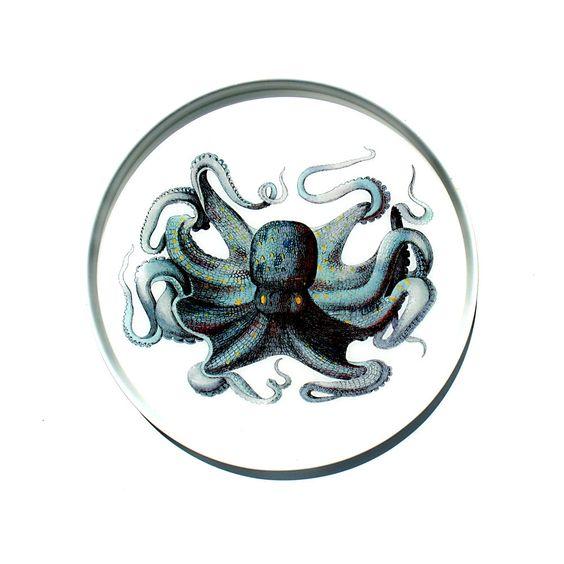 Blue Octopus large tray. $48.00, via Etsy.