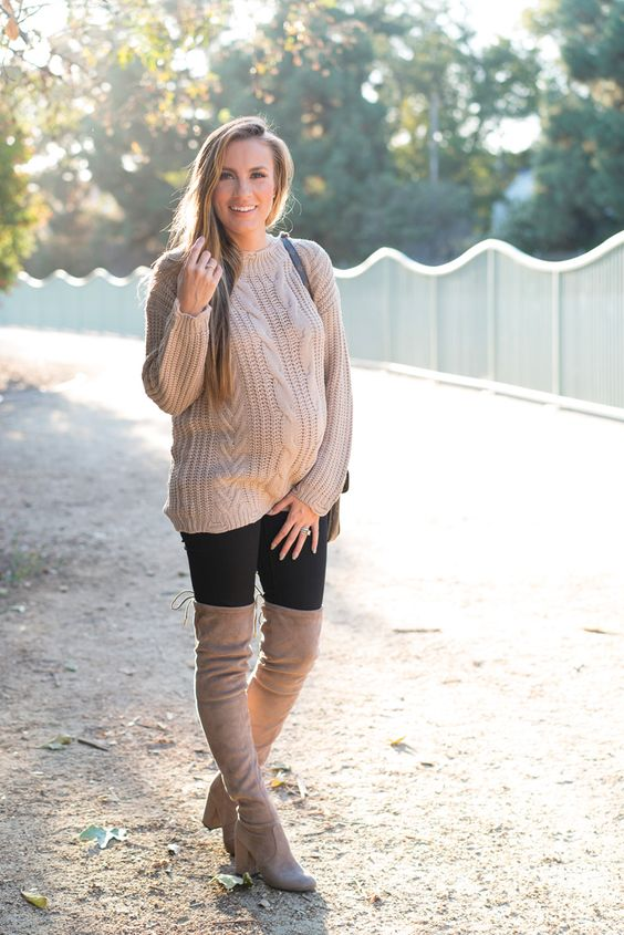 I'm wearing Dreamers by Debut Cable Knit Sweater, Madewell Maternity Skinny Jeans, Steve Madden Norri Boots, Louis Vuitton,ThirdLove T-Shirt Bra, MAC Nude Lipstick. Angela Lanter, Fashion Blogger, pregnancy outfit. Fall outfit, fall fashion trends.
