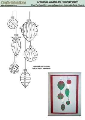 Iris Folding Patterns Free Printables | Christmas Baubles Iris Folding Pattern