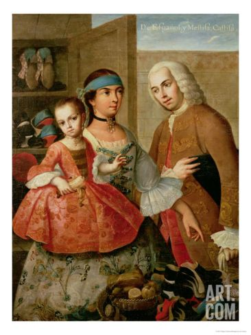 A Spaniard, His Mexican Indian Wife and Child, from a Series on Mixed Race Marriages in Mexico Giclee Print by Miguel Cabrera at Art.com