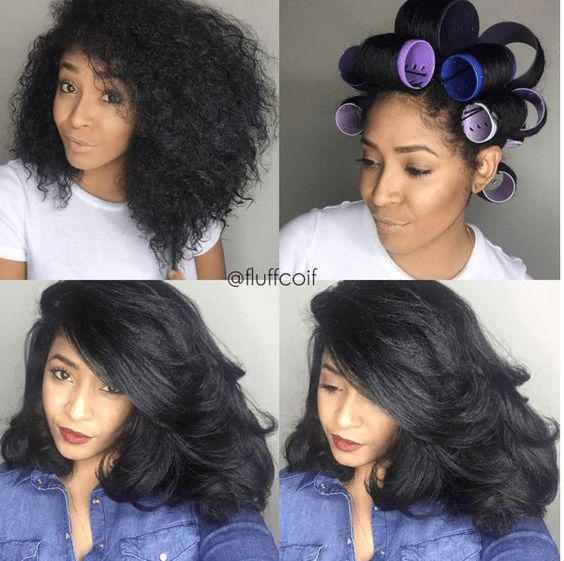 Try This Amazing Roller Set On Natural Hair Style for medium to long hair