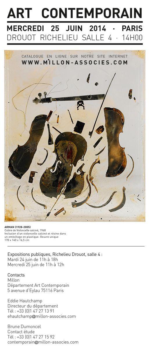 """ARMAN 1928-2005  -  """"Colère d'un violoncelle calciné et résine"""