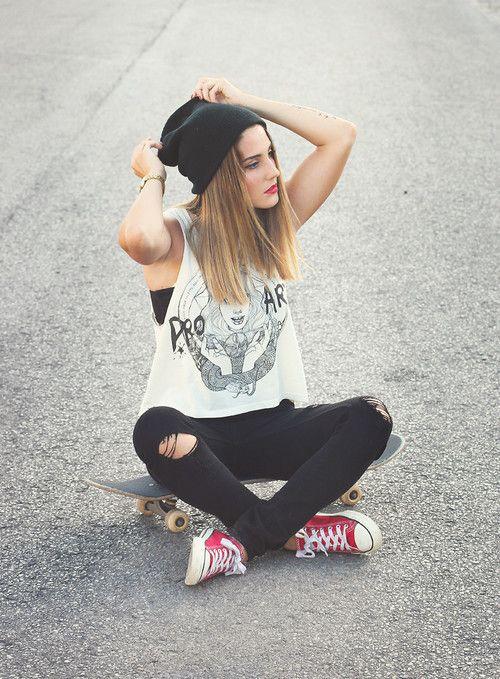 Skater Girl Skate Grunge Converse Personas Entorno