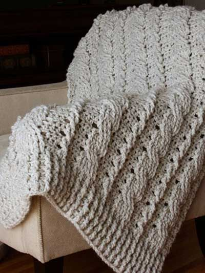 Crochet - Afghan & Throw Patterns - Single Color Patterns - Chunky Cables Decorative Throw: