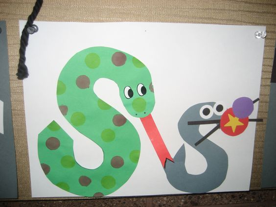"""Ss"" Letter of the week art project: snake & seal"