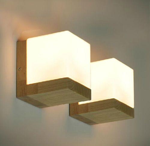 Modern Oak Wood Wall Lamp Glass Cover Light Diy Lighting Home Cafe