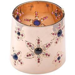 Cabochon Blue Garnet Diamond Gold Cuff Bracelet