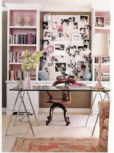 pop of #pink, #bookcases, glass desk, #office #design