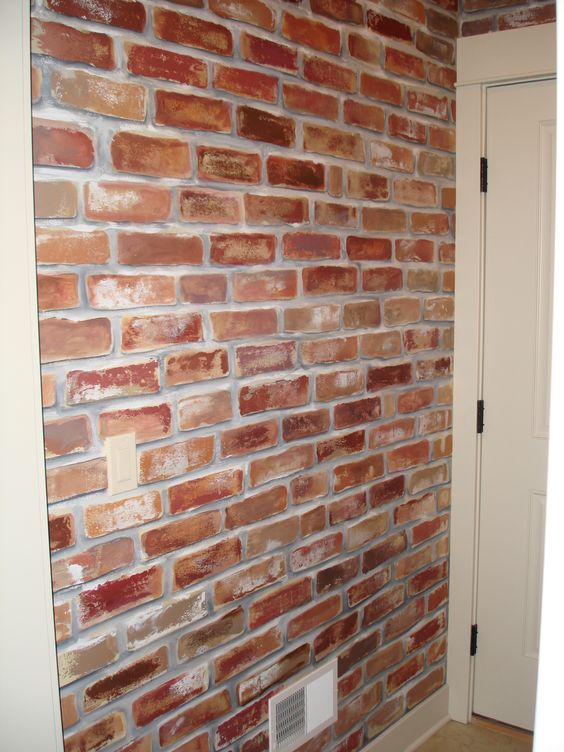 Painted Faux Brick Wall To Give My Mud Room A Little Character I Love How It Turned Out