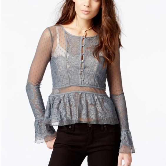 "Free People Penelope Lace Peplum Top As seen on General Hospital! New without tags. Description: Woven peplum  Mesh throughout Crewneck Lace panel at back Peplum at waist A-line hem Tonal top stitching and panel seaming Measurements: * 38"" in circumference at bust; 22"" from shoulder to hem; taken from a size S * Model's height is 5 feet 9 inches  Material: 100% nylon shell; 100% polyester combo 1; 100% nylon combo 2  Care: Hand wash Free People Tops Blouses"