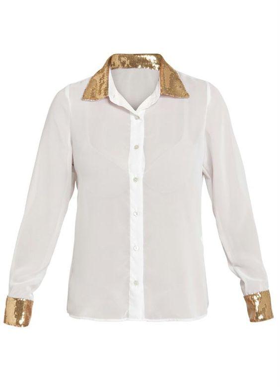 Camisa Feminina Paetês Dourados Branca - Quintess