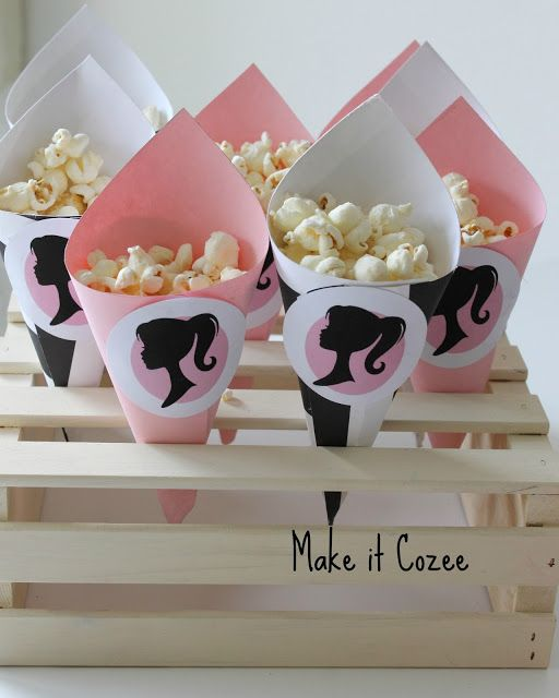 Barbie Party Pop corn cones. This would work for any theme!: