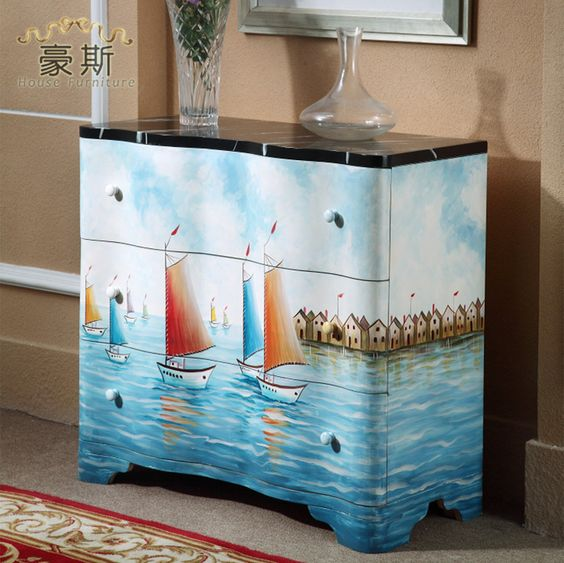 Mediterranean blue living room off the entrance cabinet three drawers ready to hand-painted lockers
