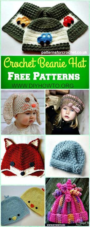 DIY+Crochet+Beanie+Hat+Free+Patterns+Baby+Hat+Winter+Hat+via+@diyhowto