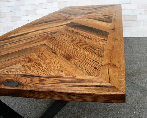 Custom Made Tobacco Oak Chevron Dining Table With Steel X Legs By