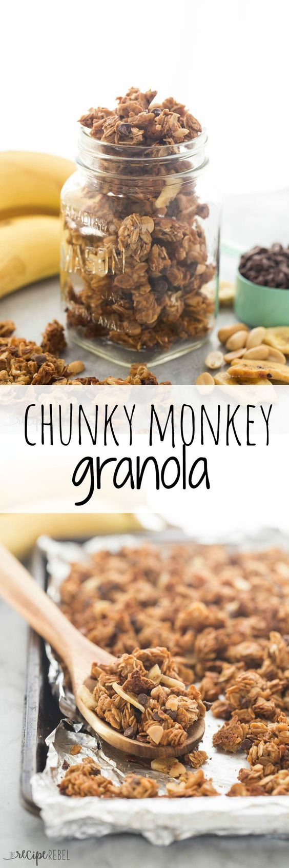 An easy granola made with banana, chocolate and peanut butter — Chunky Monkey granola! A great source of protein and fiber!
