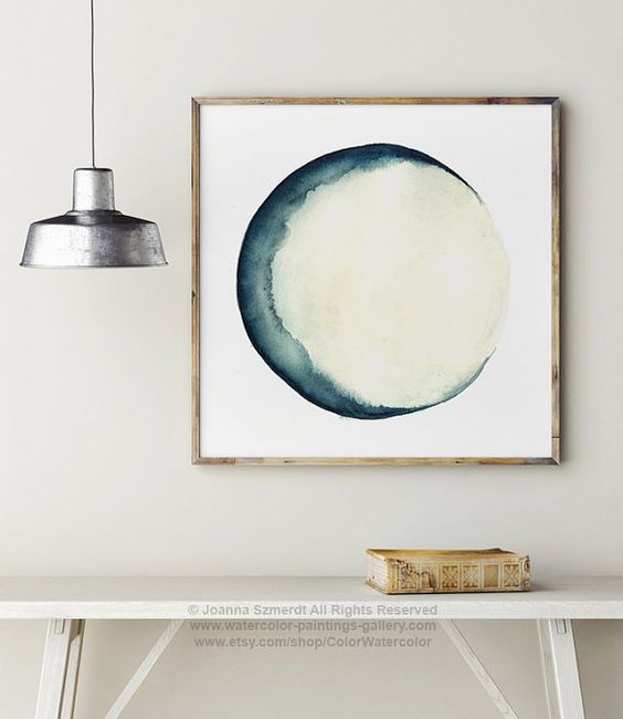 Moon Phases Watercolor Painting. Blue and Cream Wall Decor. Abstract Full Moon Art Print. New Moon Luna Solar System Illustration. Astrology
