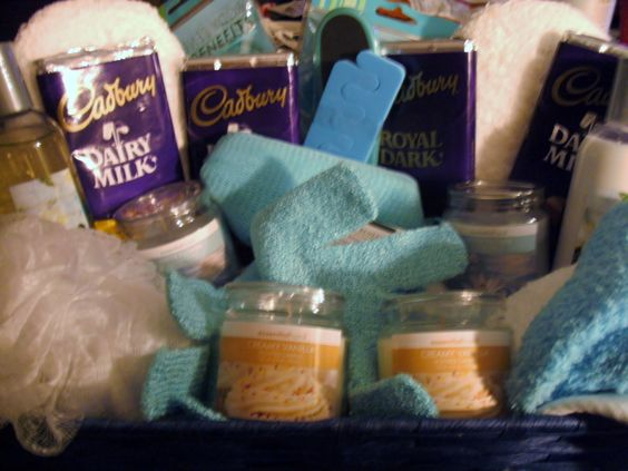 spa gift basket - something like this with Arbonne seasource spa, detox tea, candle & chocolate $100: Spa Gift Baskets, Basket Bridal, Cuzzos Shower, Spa Gifts, Bridal Shower, Candle Chocolate, Detox Tea