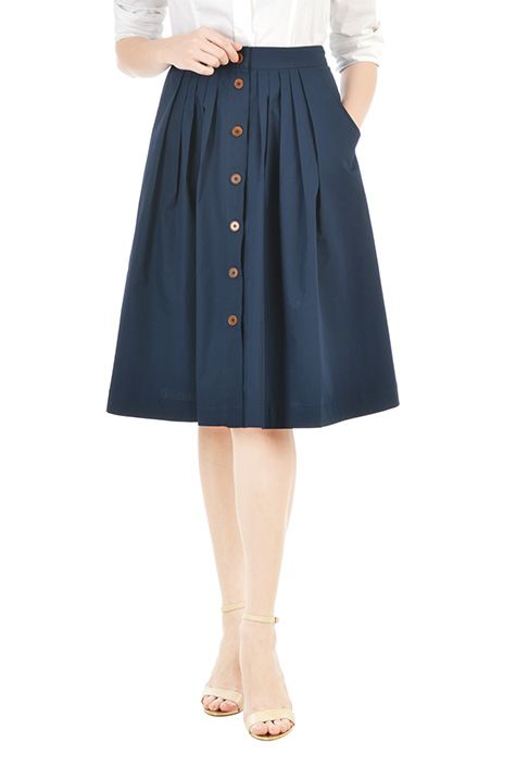 I <3 this Button front cotton poplin skirt from eShakti