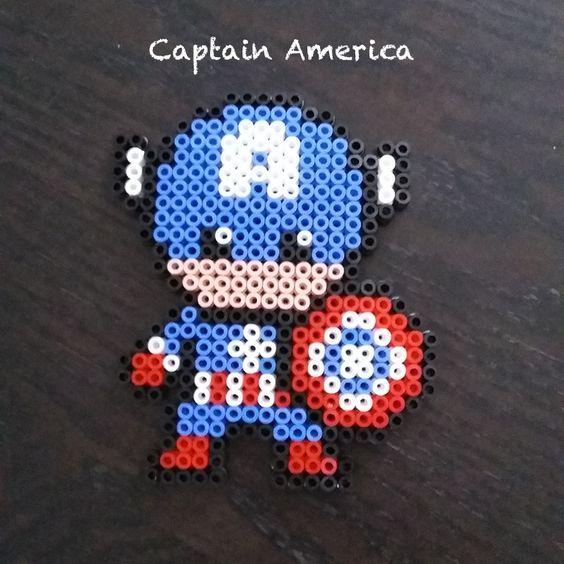 captain america en perles repasser beads steckperlen pinterest iron man captain. Black Bedroom Furniture Sets. Home Design Ideas