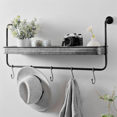 Galvanized Metal Industrial Shelf with Hooks