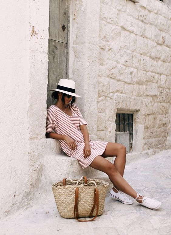 Straw trilby, red & white stripe t-shirt dress, Converse & woven bag | @styleminimalism