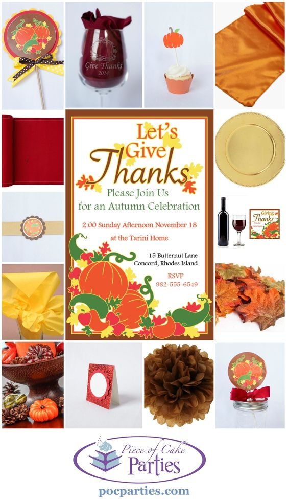 By Piece of Cake Parties.  Buy a complete unique, handcrafted Fall or Thanksgiving party at pocparties.com.