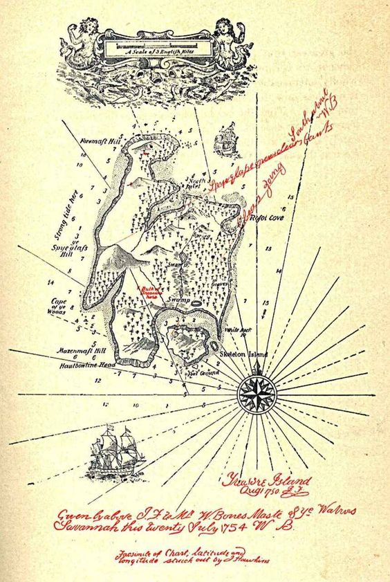 A Map of Treasure Island, by J. Hawkins