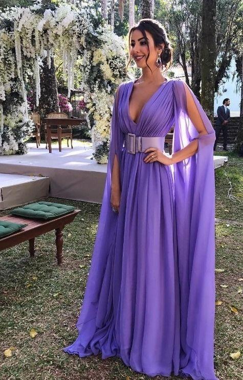 vestidos longos com manga lilás