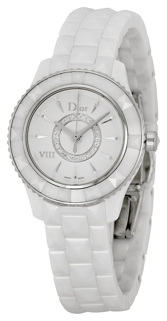 Christian Dior VIII Diamond White Ceramic Ladies Watch CD1221E2C001 ** Click on the watch for additional details.