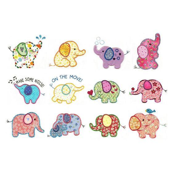 Cute elephants applique machine embroidery designs