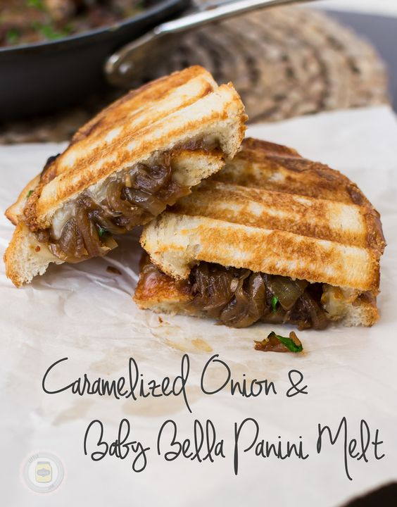 Caramelized onion and baby bella panini melt | Recipe | Jars, Spices ...